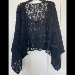 Over the Head Poncho Style Lace Shawl/Coverup